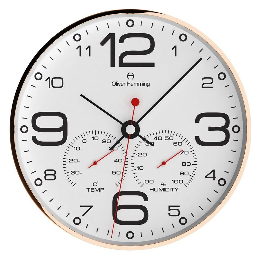 Oliver Hemming Simplex Copper Temperature Wall Clock, White, 30cm