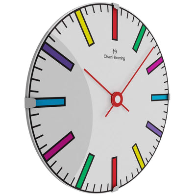 Oliver Hemming Domed Vitri Kids Colorful Lines Wall Clock 30cm W300DG74CTR 1