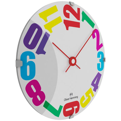 Oliver Hemming Domed Vitri Kids Colorful Numbers Wall Clock 30cm W300DG20CTR 1