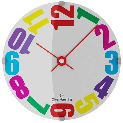 Oliver Hemming Domed Vitri Kids Colorful Numbers Wall Clock 30cm W300DG20CTR 2