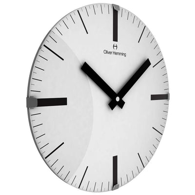 Oliver Hemming Domed Vitri Linear Glass Wall Clock White 30cm W300DGSTAT 1