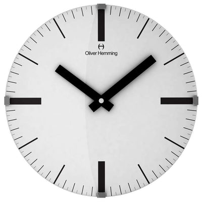 Oliver Hemming Domed Vitri Linear Glass Wall Clock White 30cm W300DGSTAT 2