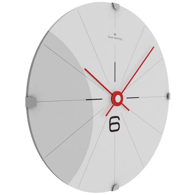 Oliver Hemming Domed Vitri Stainless Steel Wall Clock White 30cm W300DG26WTR 1