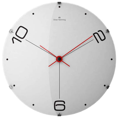 Oliver Hemming Domed Vitri Streched Tri Numeral Wall Clock 37cm W370DG14W 2