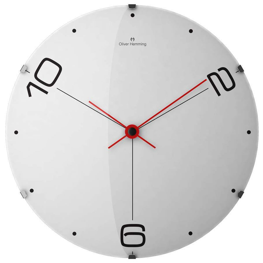 Oliver Hemming Domed Vitri Ten to Six Wall Clock, White, 37cm