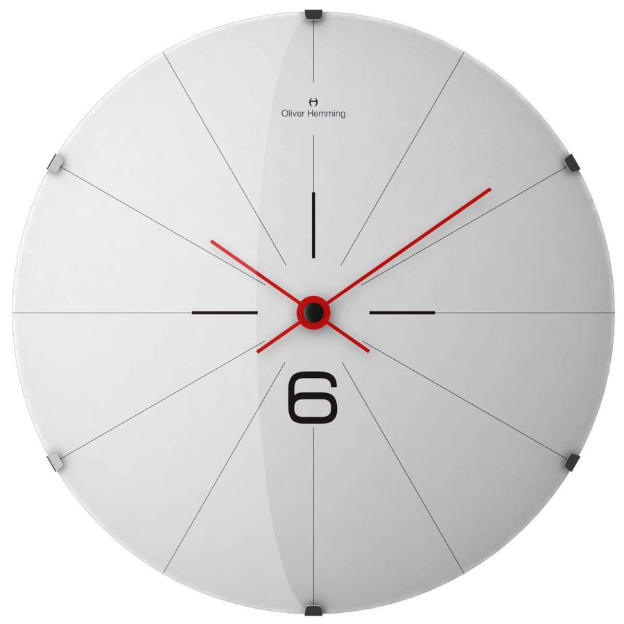 Oliver Hemming Large Domed Vitri Simply Six Wall Clock, White, 50cm