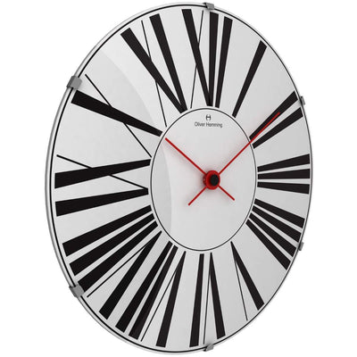 Oliver Hemming Large Domed Vitri Roman Numeral Wall Clock White 50cm W500DG53W 1
