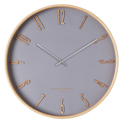 One Six Eight London Ellis Wooden Wall Clock Cool Grey 53cm 24013 1