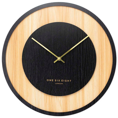One Six Eight London Emilia Wooden Wall Clock Charcoal Black 40cm 23054 1