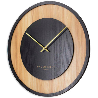 One Six Eight London Emilia Wooden Wall Clock Charcoal Black 40cm 23054 2