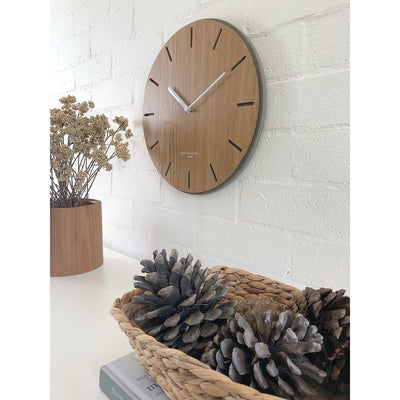 One Six Eight London Gabriel Concrete Wood Silent Wall Clock 35cm 7030 Lifestyle1