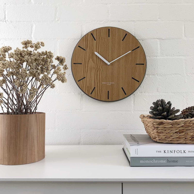 One Six Eight London Gabriel Concrete Wood Silent Wall Clock 35cm 7030 Lifestyle Main