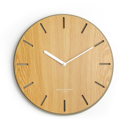 One Six Eight London Gabriel Concrete Wood Silent Wall Clock 35cm 7030 Front
