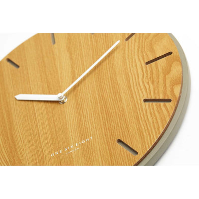 One Six Eight London Gabriel Concrete Wood Silent Wall Clock 35cm 7030 Close Up