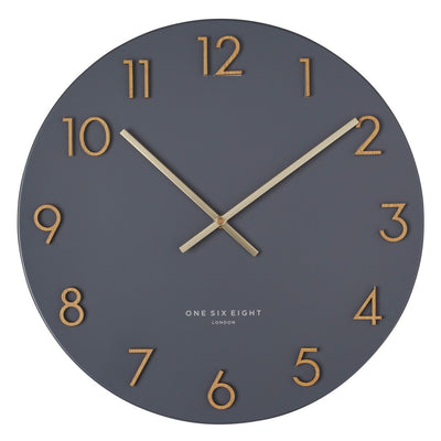 One Six Eight London Katelyn Metal Wall Clock Charcoal Grey 40cm 22150 1