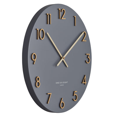 One Six Eight London Katelyn Metal Wall Clock Charcoal Grey 40cm 22150 2
