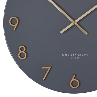 One Six Eight London Katelyn Metal Wall Clock Charcoal Grey 40cm 22150 4