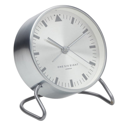 One Six Eight London Lara Stainless Steel Alarm Clock Silver 12cm 33007 2