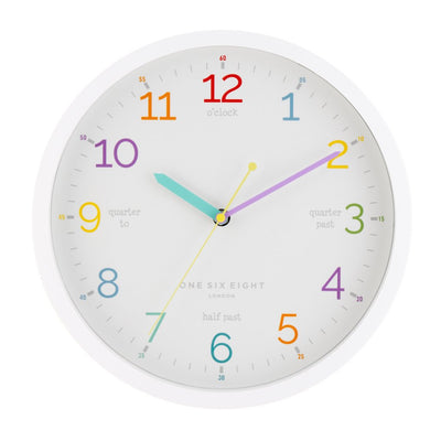 One Six Eight London Learn The Time Wall Clock White 30cm 22125 2
