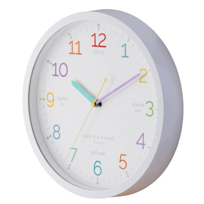 One Six Eight London Learn The Time Wall Clock White 30cm 22125 3