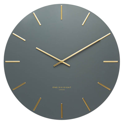 One Six Eight London Luca Wall Clock Charcoal Grey 30cm 22110 Front