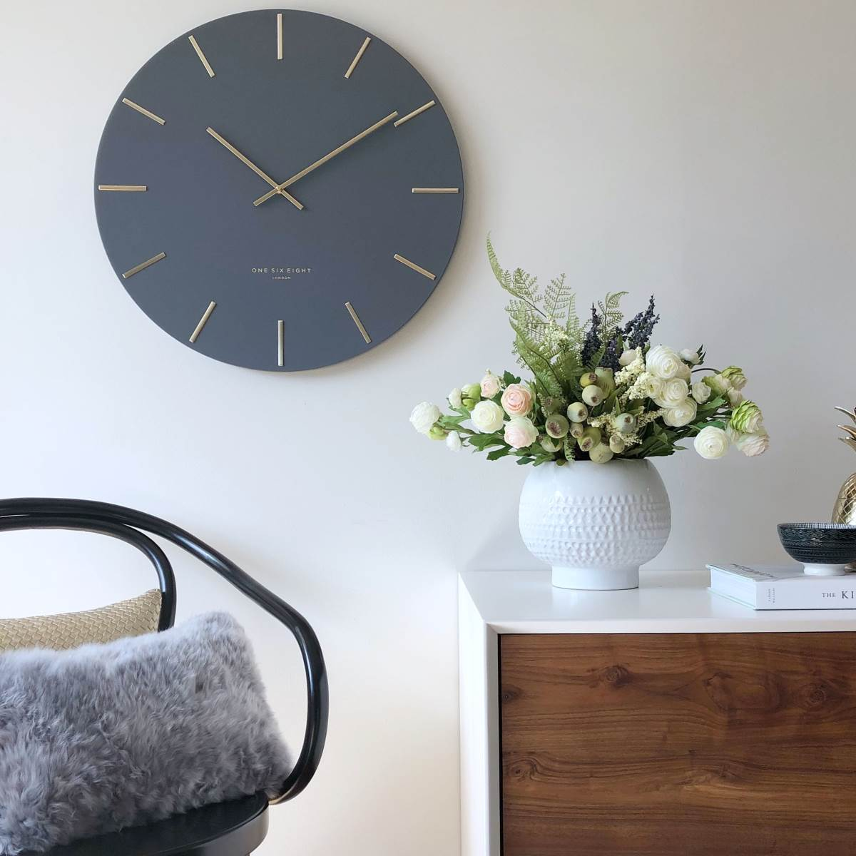 One Six Eight London Luca Wall Clock Charcoal Grey 30cm 22110 Lifestyle2