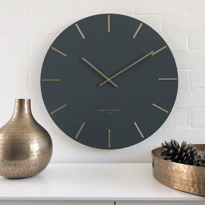 One Six Eight London Luca Wall Clock Charcoal Grey 30cm 22110 Lifestyle