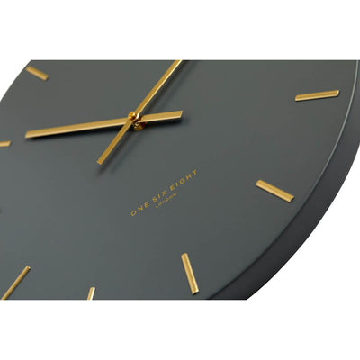 One Six Eight London Luca Wall Clock Charcoal Grey 30cm 22110 Zoom