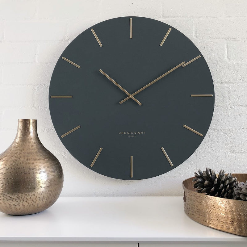 One Six Eight London Luca Wall Clock, Charcoal Grey, 40cm