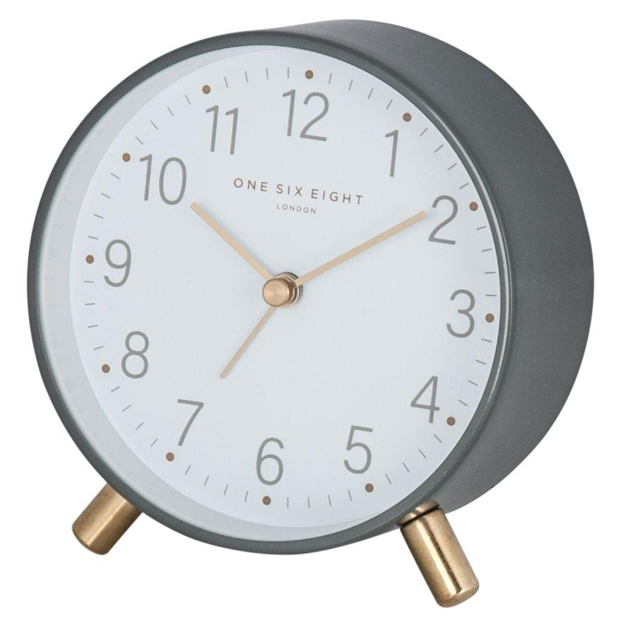 One Six Eight London Maisie Alarm Clock, Charcoal Grey, 11cm