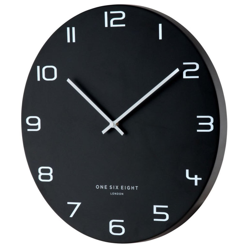 One Six Eight London Nero Wall Clock, Black, 40cm