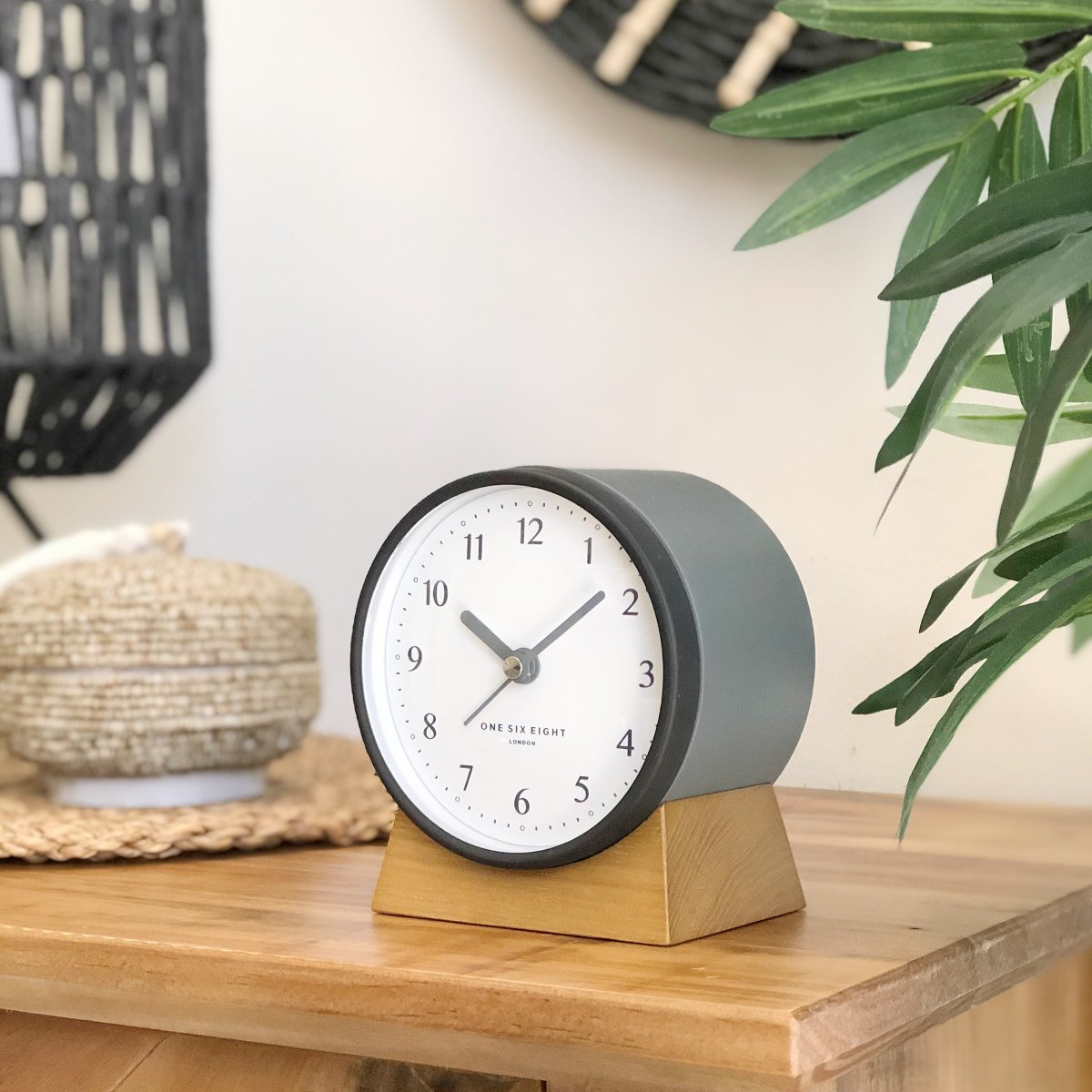 One Six Eight London Nina Alarm Clock Charcoal Grey 12cm 21026 1