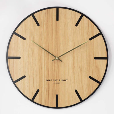 One Six Eight London Oscar Wood Veneer Markers Wall Clock 40cm 23022 1