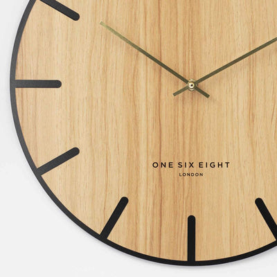One Six Eight London Oscar Wood Veneer Markers Wall Clock 40cm 23022 4