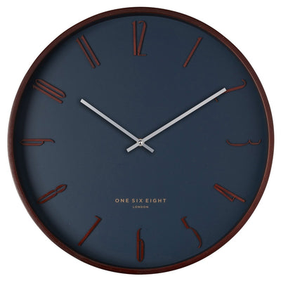 One Six Eight London Samual Wooden Wall Clock Petrol Blue 41cm 24001 1