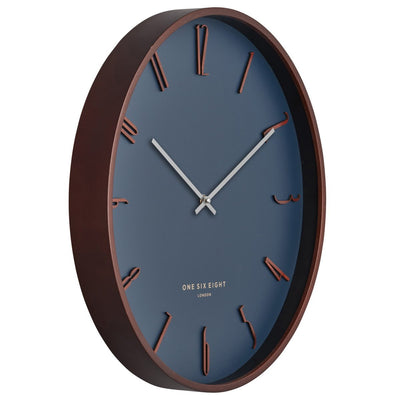 One Six Eight London Samual Wooden Wall Clock Petrol Blue 41cm 24001 2