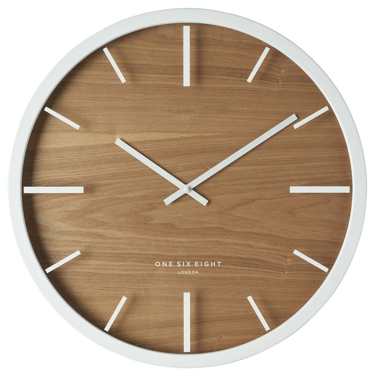 One Six Eight London Willow Wall Clock Natural Wood 30cm 21012 Front