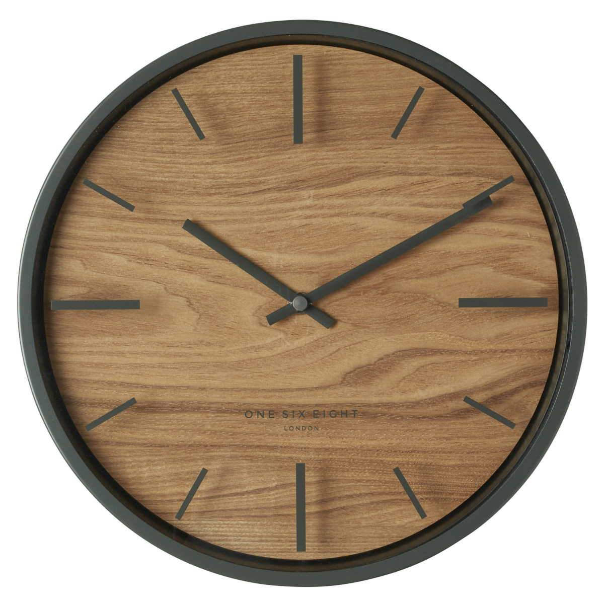 One Six Eight London Willow Wooden Wall Clock Charcoal Grey 30cm 21031 1