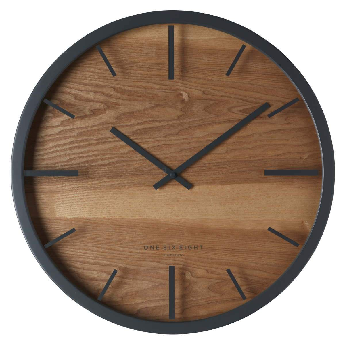 One Six Eight London Willow Wooden Wall Clock Charcoal Grey 50cm 21033 1