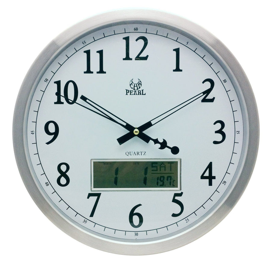 Pearl Time Aluminium LCD Digital Date Wall Clock, Silver, 35cm