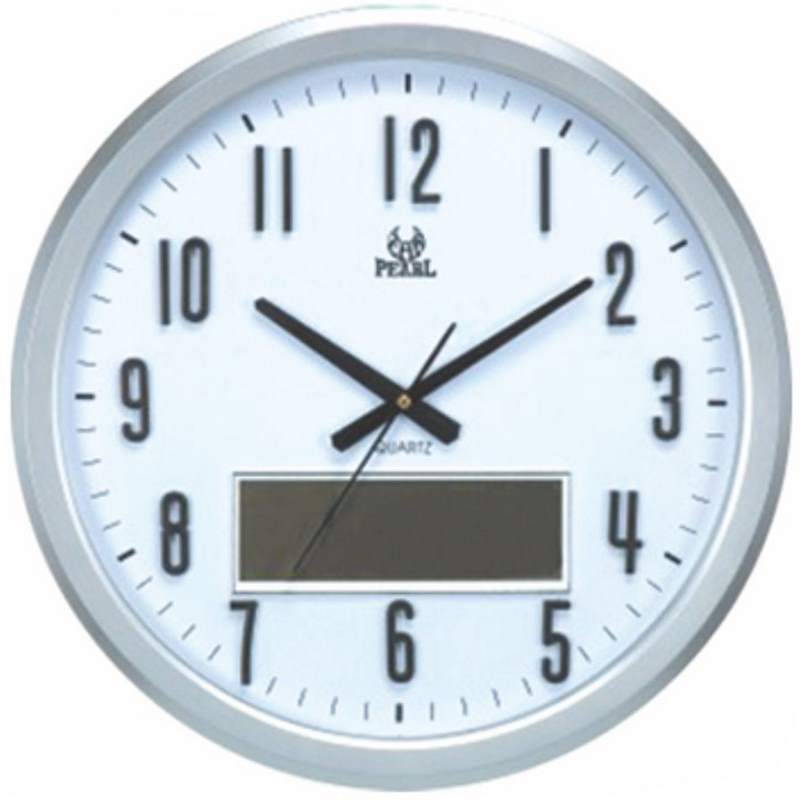 Pearl Time Analogue LCD Date Temperature Wall Clock, Silver, 47cm