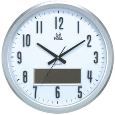 Pearl Time Analogue LCD Date Temperature Wall Clock Silver 47cm PW160 1706 1 1