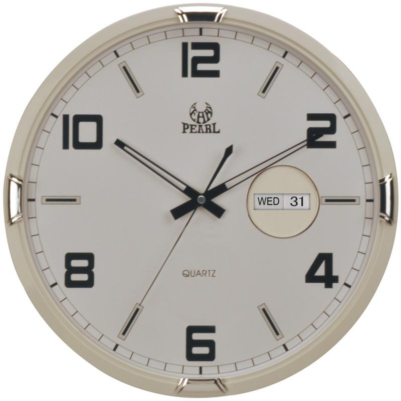 Pearl Time Emmanuelle Day Date Wall Clock, Off White, 36cm