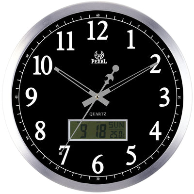 Pearl Time Hugh LCD Wall Clock Black 35cm PW048 LCDB 1