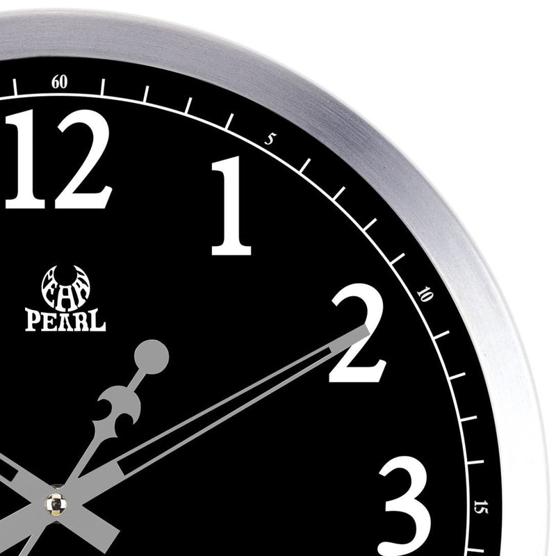Pearl Time Hugh Analogue LCD Day Date Wall Clock, Black, 35cm