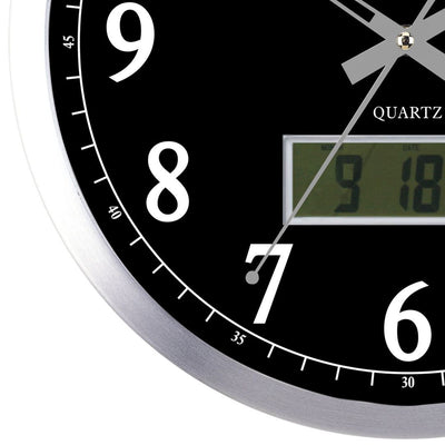 Pearl Time Hugh LCD Wall Clock Black 35cm PW048 LCDB 3