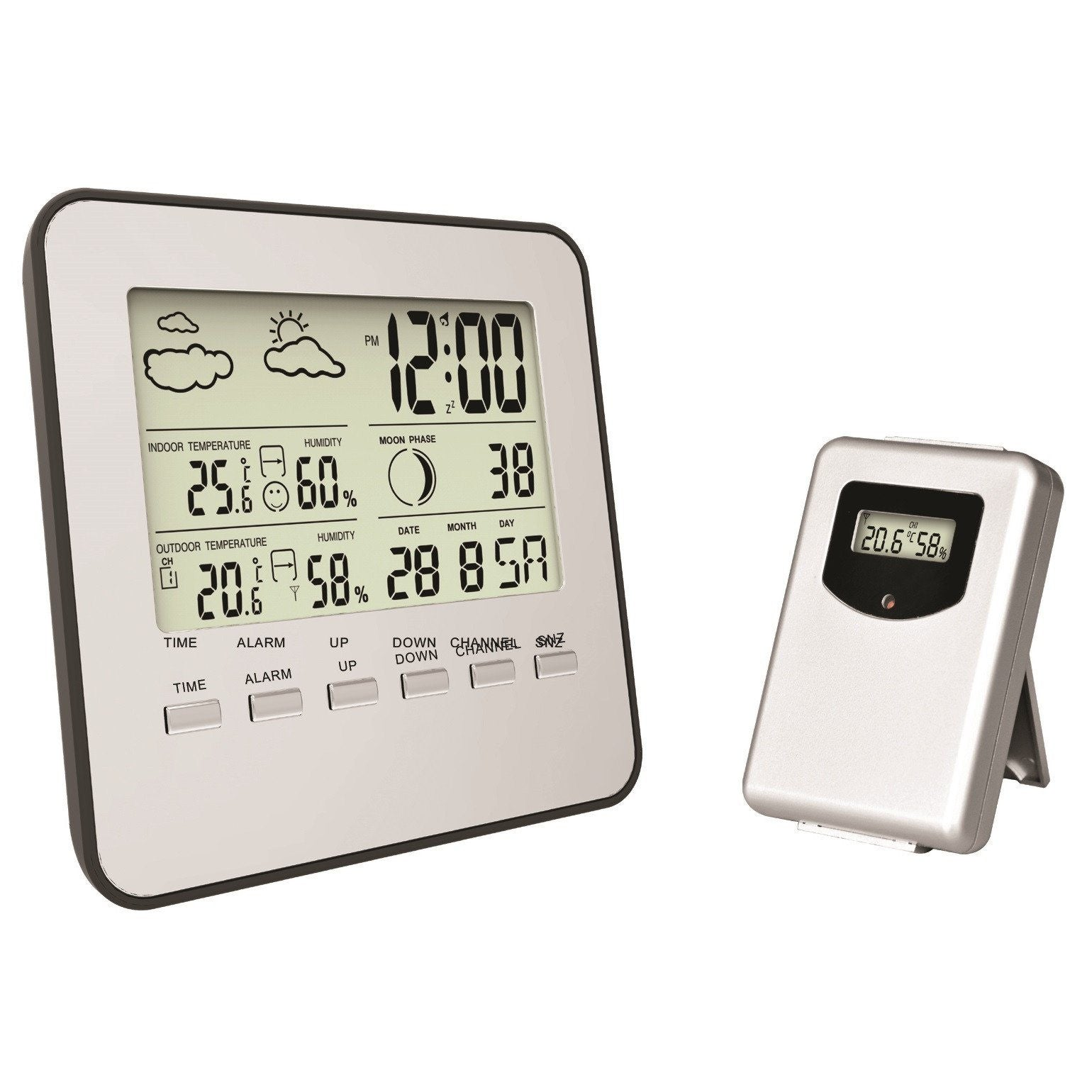 Pearl Time LCD Digital Weather Station Alarm Clock with Sensor 13cm ES330
