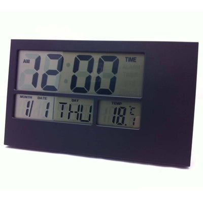 Pearl Time LCD Wall or Desk Clock Black E3604BLK Front