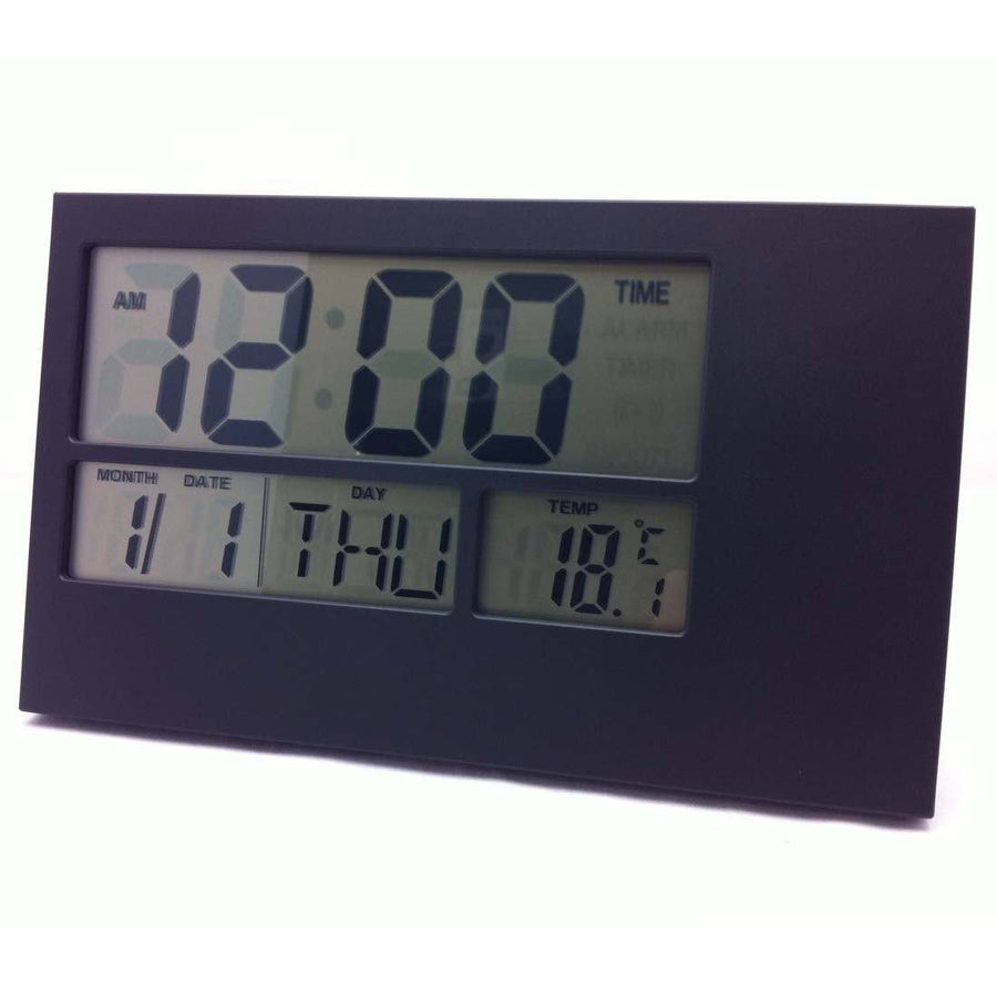 Pearl Time LCD Wall or Desk Clock, Black, 24cm