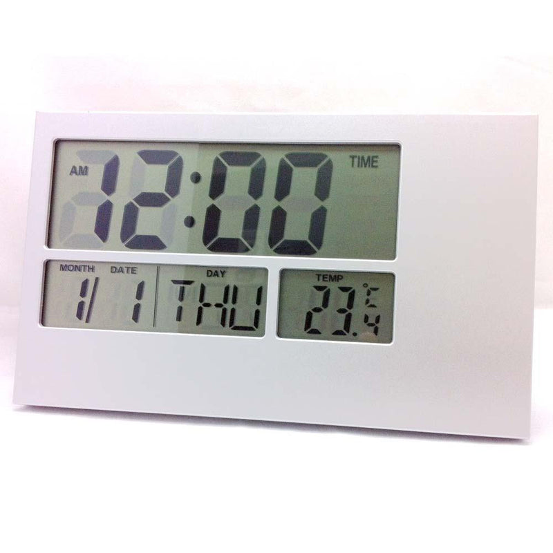Pearl Time LCD Wall or Desk Clock, Silver, 24cm